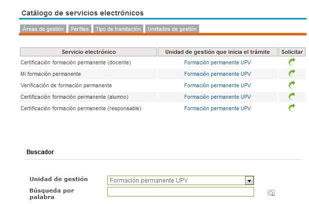 Sede electronica UPV. Formación Permanente.